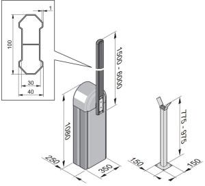 Tõkkepuu Sommer ASB-6010 mõõdud