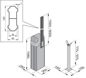 Tõkkepuu Sommer ASB-6010A mõõdud